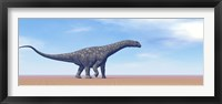 Large Argentinosaurus dinosaur walking in the desert Framed Print