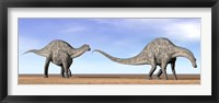 Framed Two Dicraeosaurus dinosaurs walking in the desert
