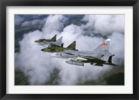 Framed Four Saab 37 Viggen fighters of the Swedish Air Force