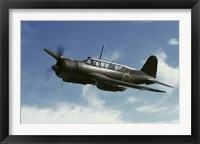 Framed Saab B 17 dive bomber warbird from the Swedish Air Force