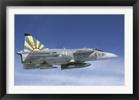 Framed Saab JA 37 fighter of the Swedish Air Force