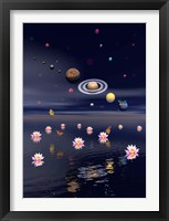 Framed Planets of the solar system surrounded by lotus flowers and butterflies