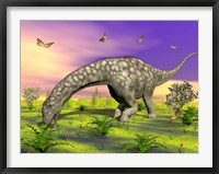 Framed Argentinosaurus eating plants while surrounded by butterflies and flowers
