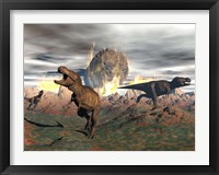 Framed Tyrannosaurus Rex dinosaurs escaping a big meteorite crash