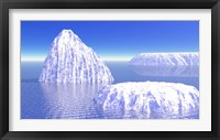 Framed Three icebergs in ocean by daylight