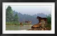 Framed saber-toothed cat looks across a river at a family of deer