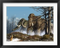 Framed rabbit witnesses a herd of mammoths in a snowy forest