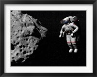 Framed Astronaut exploring an asteroid in outer space