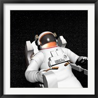 Framed Astronaut floating alone in the dark space surrounded with stars