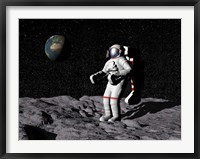 Framed Astronaut on moon with Earth in the background