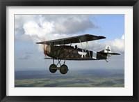 Framed Fokker DVII World War I replica fighter in the air