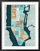 Framed Manhattan Map Blue Brown