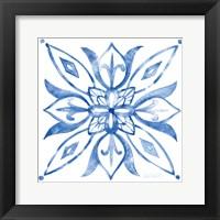 Framed Tile Stencil II Blue