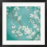 Framed White Cherry Blossoms II on Blue Aged No Bird
