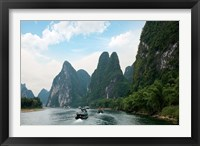 Framed China, Guilin, Li River, Boats along the River