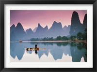 Framed Cormorant fishing at dusk, Li river, Guangxi, China