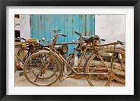 Framed Group of bicycles in alley, Delhi, India
