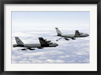 Framed B-52H Stratofortress refuels with a KC-135R Stratotanker