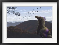 Framed Velociraptor in an autumn landscape
