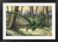 Framed bright green Velociraptor runs through a prehistoric forest
