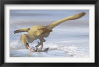 Framed Deinonychus antirrhopus preys on a fish