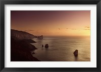 Framed Aerial view of sea and mountains at sunset, Nebida, Sardinia, Italy