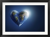 Framed Heart-shaped planet Earth on a dark blue background