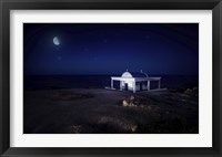 Framed small church at night with starry sky, Crete, Greece