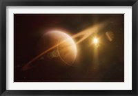 Framed Saturn in outer space against Sun and star field