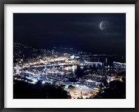Framed Aerial view of Port Hercules in Monaco at night