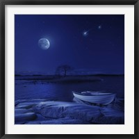 Framed boat moored near an icy stone in a lake against starry sky, Finland
