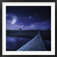 Framed bridge across the river at night against starry sky, Russia