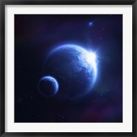Framed Earth and moon in outer space with rising sun and flying meteorites