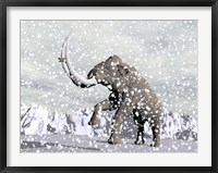 Framed Mammoth walking through a blizzard on mountain
