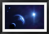 Framed Planet Earth and its moon in outer space