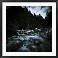 Framed Small river flowing over stones covered with moss, Pirin National Park, Bulgaria