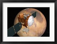 Framed NASA's Mars Telecommunications Orbiter in Flight Around Mars