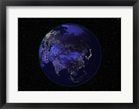 Framed Satellite view of Earth showing city lights at night