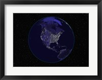 Framed Satellite view of the Earth showing city lights at night