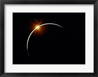 Framed Apollo 12 view of a solar eclipse