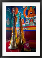 Framed Ceremonial horns at Shey Palace, Ledakh, India