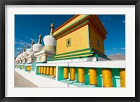 Framed Chortens and prayer flags at Dali Lama's Ladakh home, Ladakh, India