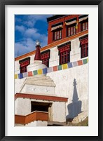 Framed Prayer flags and a chorten at Thiksey Monastery, Leh, Ladakh, India