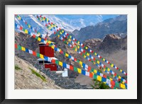 Framed Strings of prayer flags at Thiksey Monasterym Leh, Ladakh, India