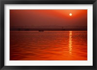 Framed Sunset over the Ganges River in Varanasi, India