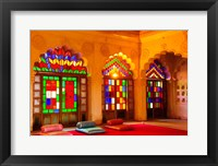 Framed Windows of colored glass, Mehrangarh Fort, Jodhpur, Rajasthan, India