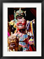 Framed Buddhist Monks in costume, Chemrey Monastery, Ladakh, India