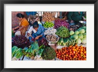 Framed Selling fruit in local market, Goa, India