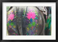 Framed Elephant Decorated with Colorful Painting at Elephant Festival, Jaipur, Rajasthan, India