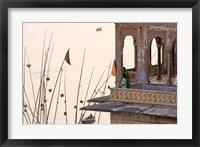 Framed Daily Life Along The Ganges River, Varanasi, India